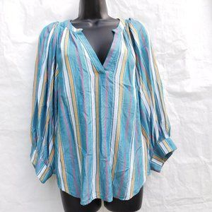 ANTHROPOLOGIE MAEVE STRIPED BALLOON SLEEVES BLOUSE